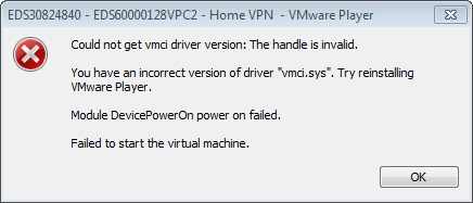 VMware vmce.sys error dialog