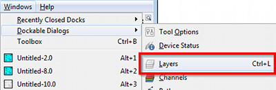 GIMP select layers dialog