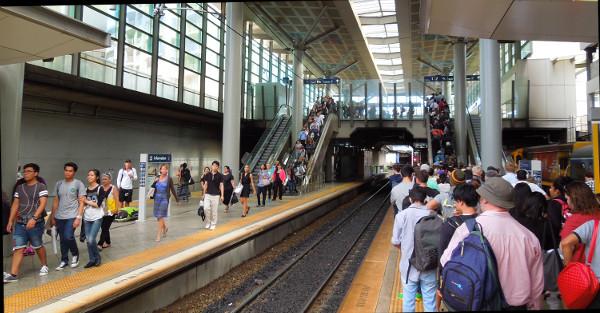 Train Passengers changing platform