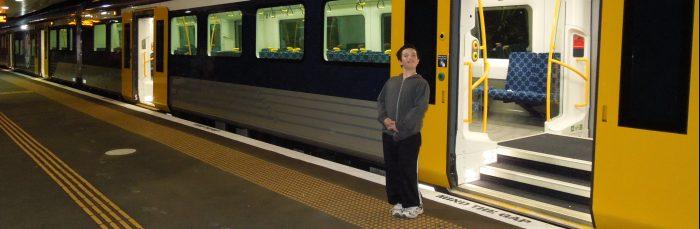 Josh catching train in Swanson