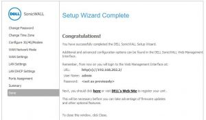 SonicWALL end of wizard