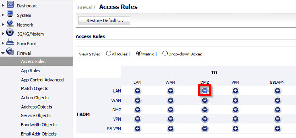 Connection timeout to DMZ for SonicWall   Zoyinc