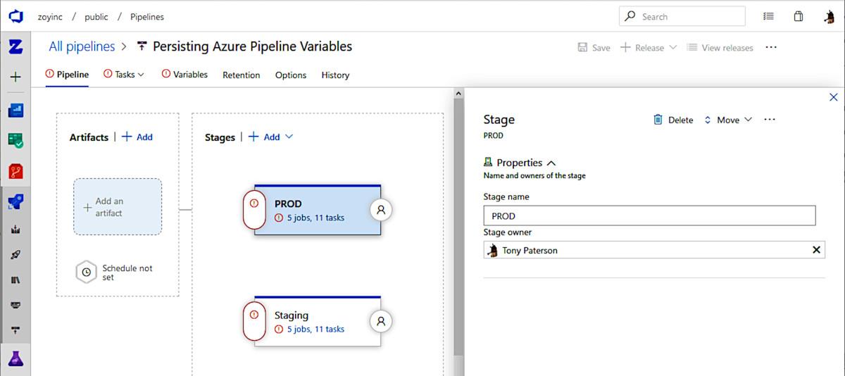 Persisting Azure Pipeline Variables | Zoyinc